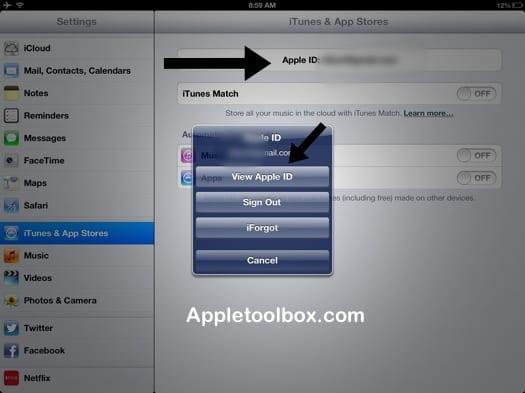 Настройки учетной записи Apple ID на iPad, iPod или iPhone