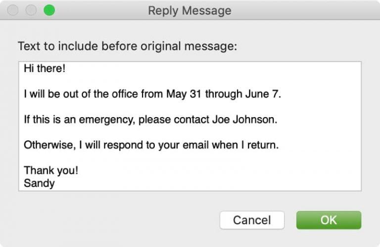 Создание сообщения об отсутствии на рабочем месте в Apple Mail