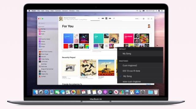 Как перенести пользовательские рингтоны с macOS Catalina на iPhone