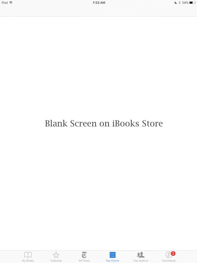 Магазин iBooks не работает, отображается пустой экран, инструкции