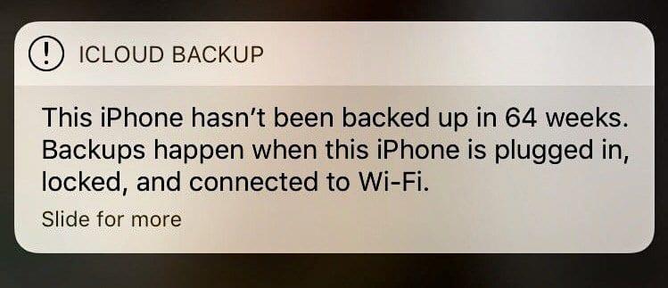 iOS: сообщение резервного копирования iCloud не исчезнет;  исправить