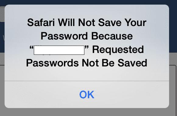 Safari не сохраняет пароль на некоторых сайтах