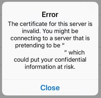 Получить ошибку «сертификат для этого сервера недействителен»?  Как это исправить