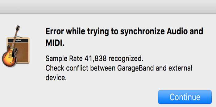 GarageBand: ошибка при синхронизации аудио и MIDI